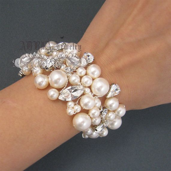 Our Original Hand Wired Chunky Swarovski Pearls Rhinestones Bridal Cuff Bracelet Perfect For Wedding Party And Other Formal Occasions