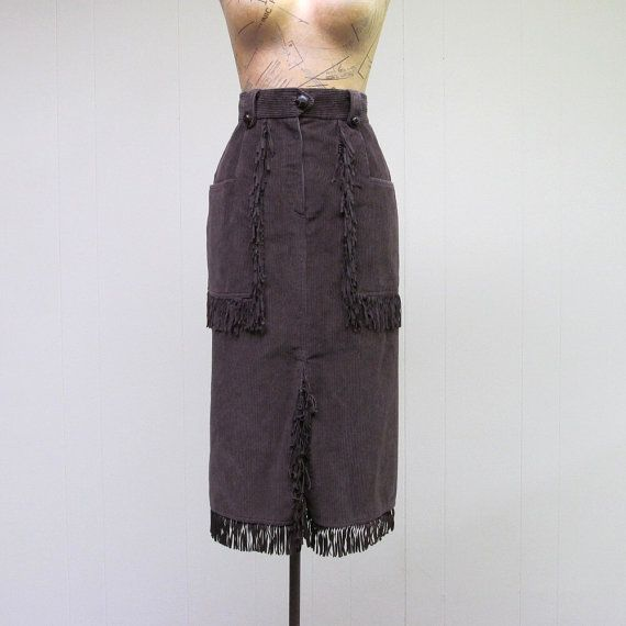Vintage 1980s Pencil Skirt - 80s Brown Corduroy Fringed Cowgirl Skirt