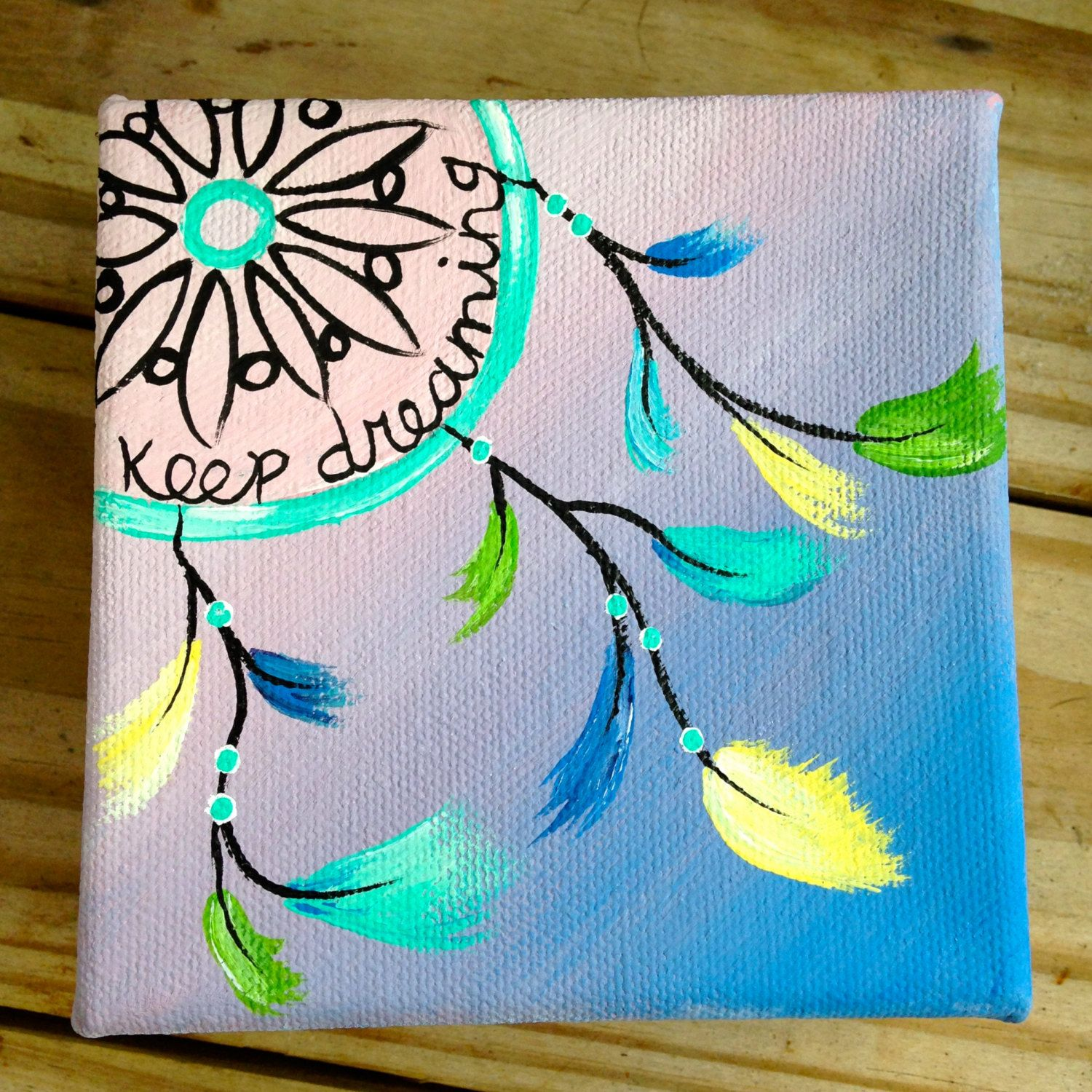 Tiny Pastel Dream Catcher Box Painting Acrylic On Canvas 4x4 Simple Canvas Paintings Diy Canvas Canvas Painting