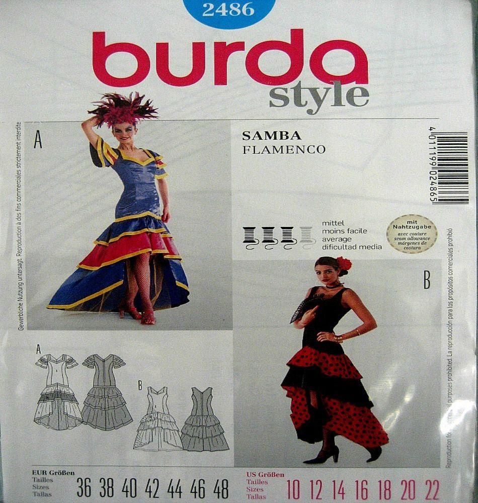 Burda Sewing Pattern 2486 Ladies Spanish Flamenco Latin National ...