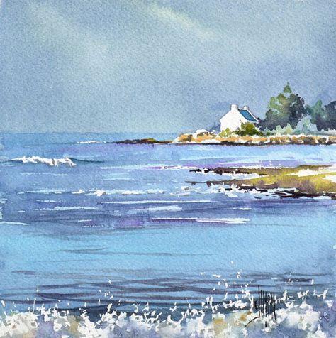 Bateau Etale Aquarelle Joel Simon Aquarelle Peinture