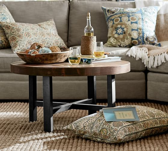 Griffin Reclaimed Wood Round Coffee Table Round Wood Coffee