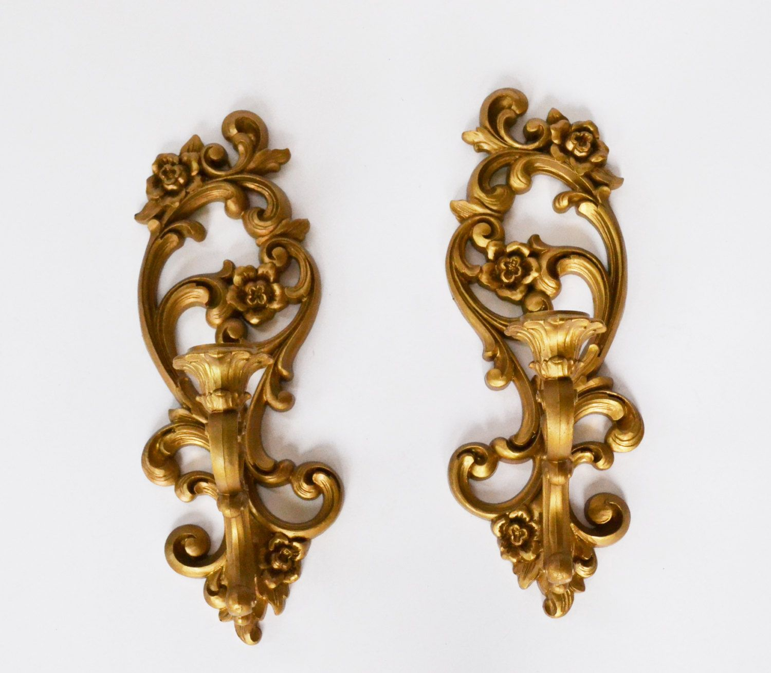 Gold Wall Sconces Gold Candle Holders Syroco Wall Sconces ...
