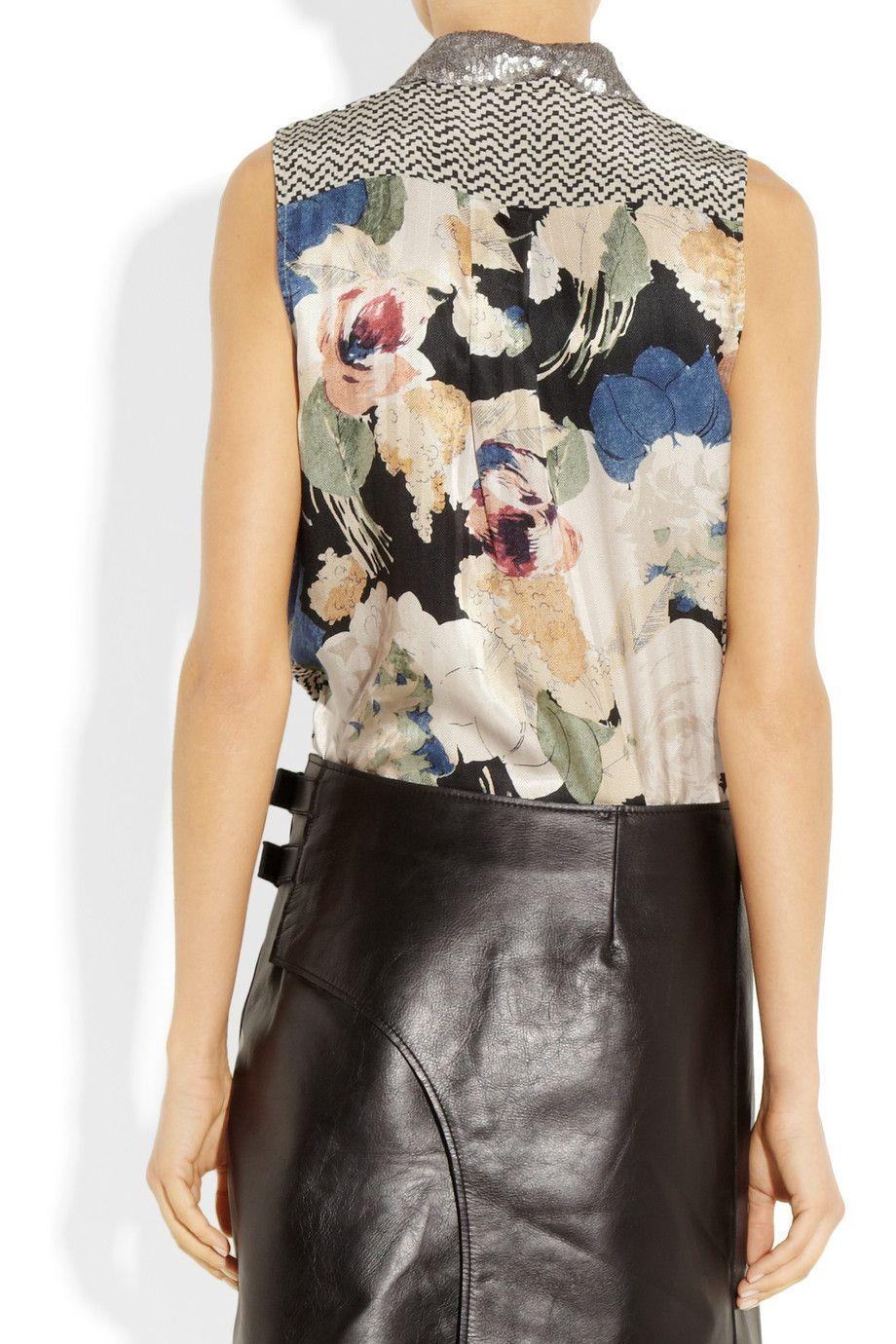 Elizabeth and James Julian sequin-collared printed silk shirt NET-A-PORTER.COM
