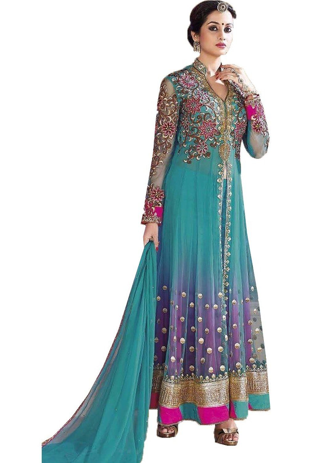 793b3254e6 chakudee by sky blue georgette anarkali suit: Amazon.in: Clothing &  Accessories,