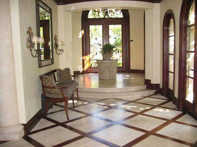 Wood And Travertine Floor Designs Travertine Bordered In Wood