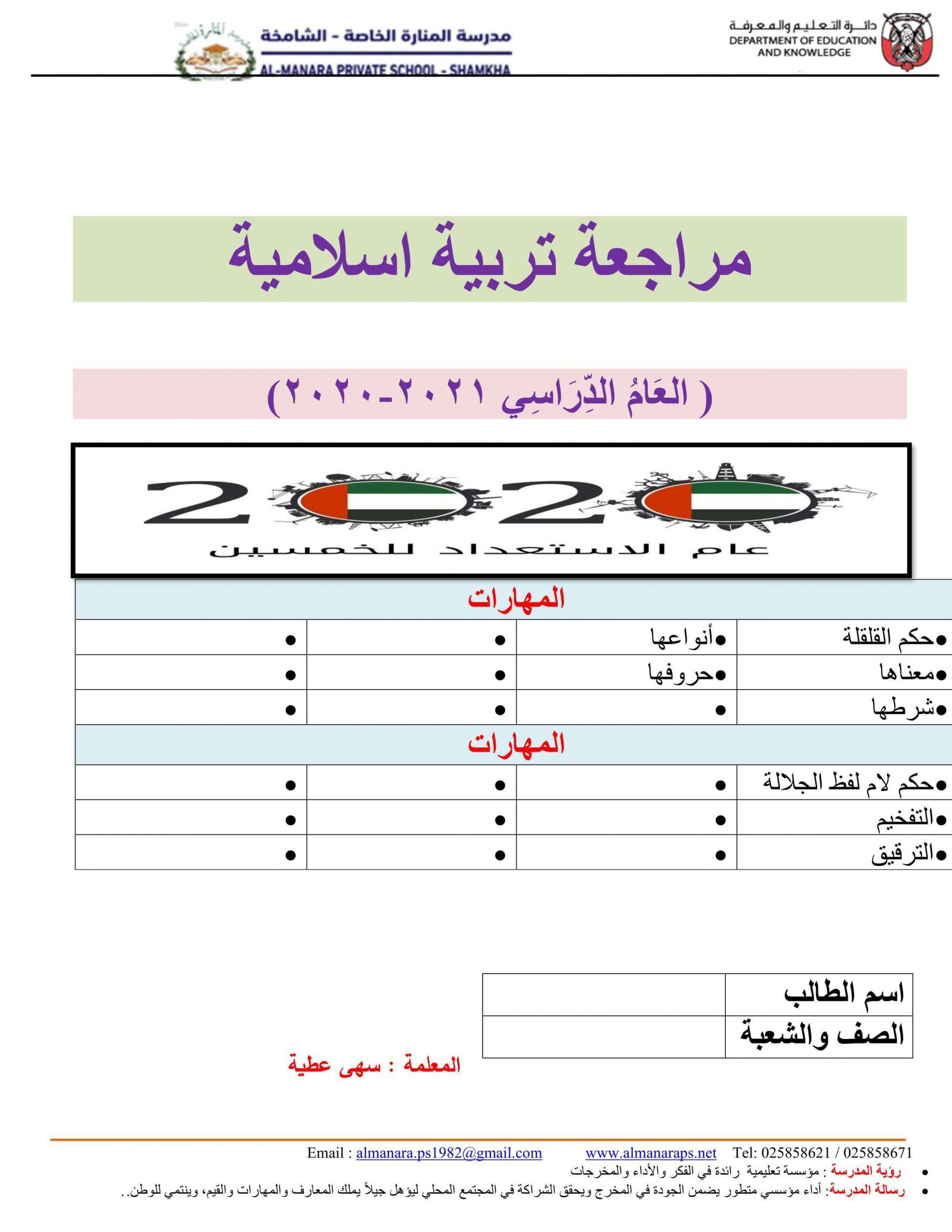 اوراق عمل درس لفظ الجلالة الصف الرابع مادة التربية الاسلامية Knowledge Map Map Screenshot