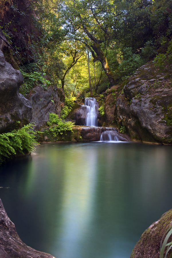 Upper pool of hidden paradise falls autumn waterfall - Crystal pools waterfall ...