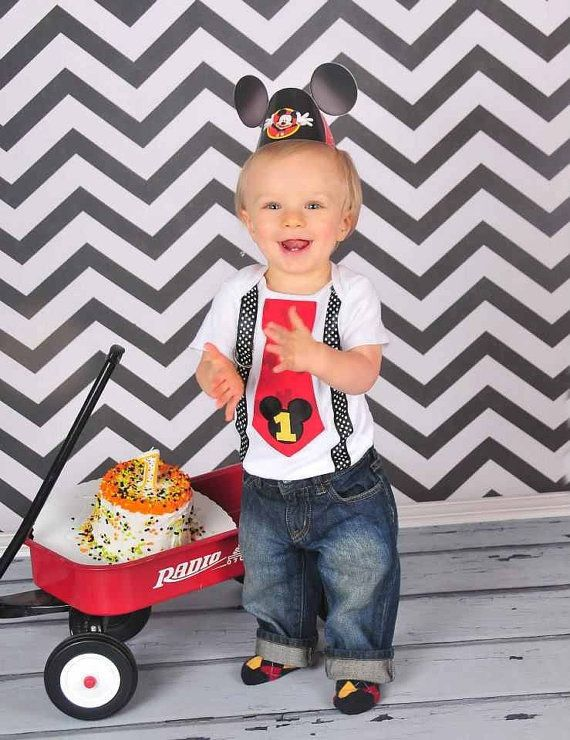 Mickey Mouse 1st Birthday Tie and Suspenders Onesie for Baby Boy -Disney  Clothing-Disney - Mickey Mouse 1st Birthday Tie And Suspenders Onesie For Baby Boy