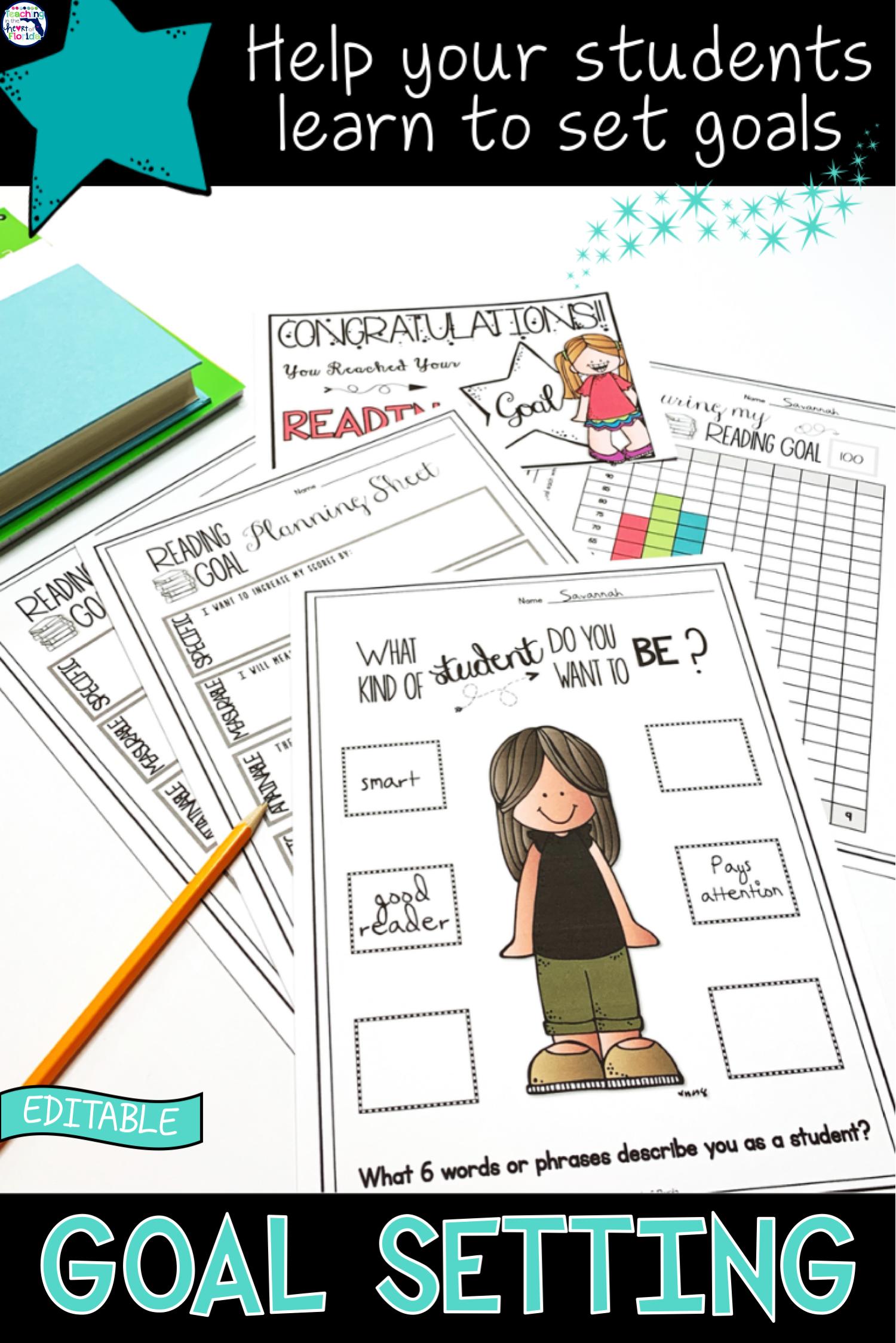 Goal Setting Worksheets And Data Tracking Social Emotional Learning Smart Goals Worksheet Goals Worksheet [ 2249 x 1500 Pixel ]