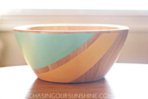 DIY painted wood bowl