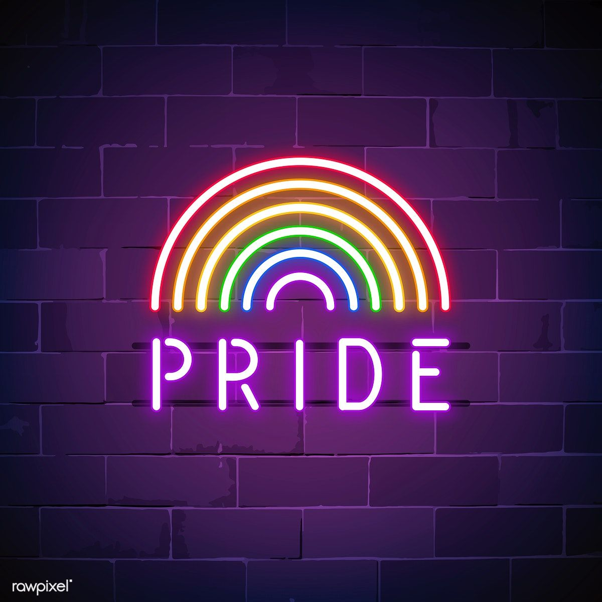 Rainbow Pride Neon Sign Vector Free Image By Rawpixel Com