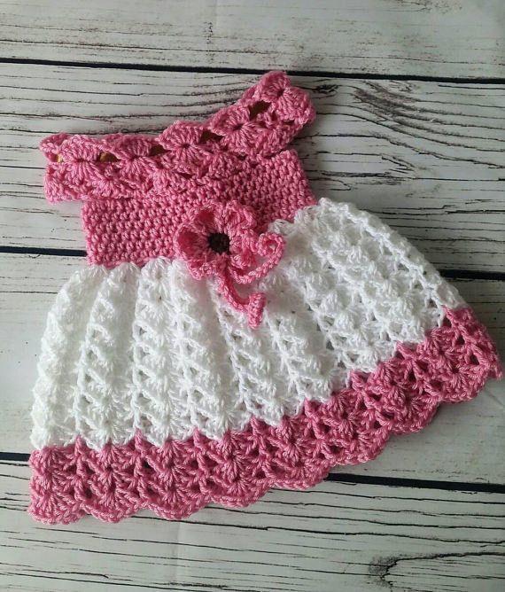 Crochet Baby Dress Infant Baby Dress Handmade Baby Girl