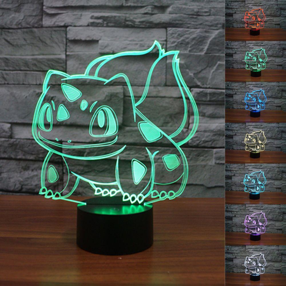 New Pokemon Go 3d Bulbasaur Night Light 7 Color Change Led Desk Table Lamp Pokemon Decor 3d Night Light Color Changing Led