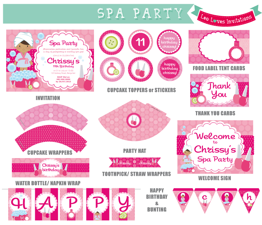 photograph regarding Spa Party Printable identify Pin by means of Leo Minnie upon Get together Printables Spa birthday events