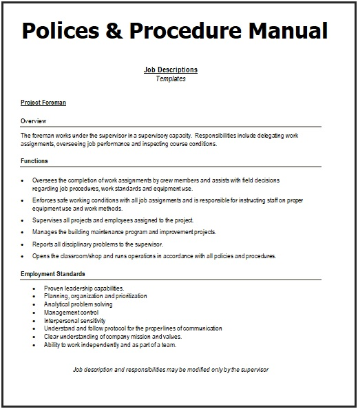 Policies And Procedures Manual Templates 7 Word Pdf Job Description Template Procedure Policies
