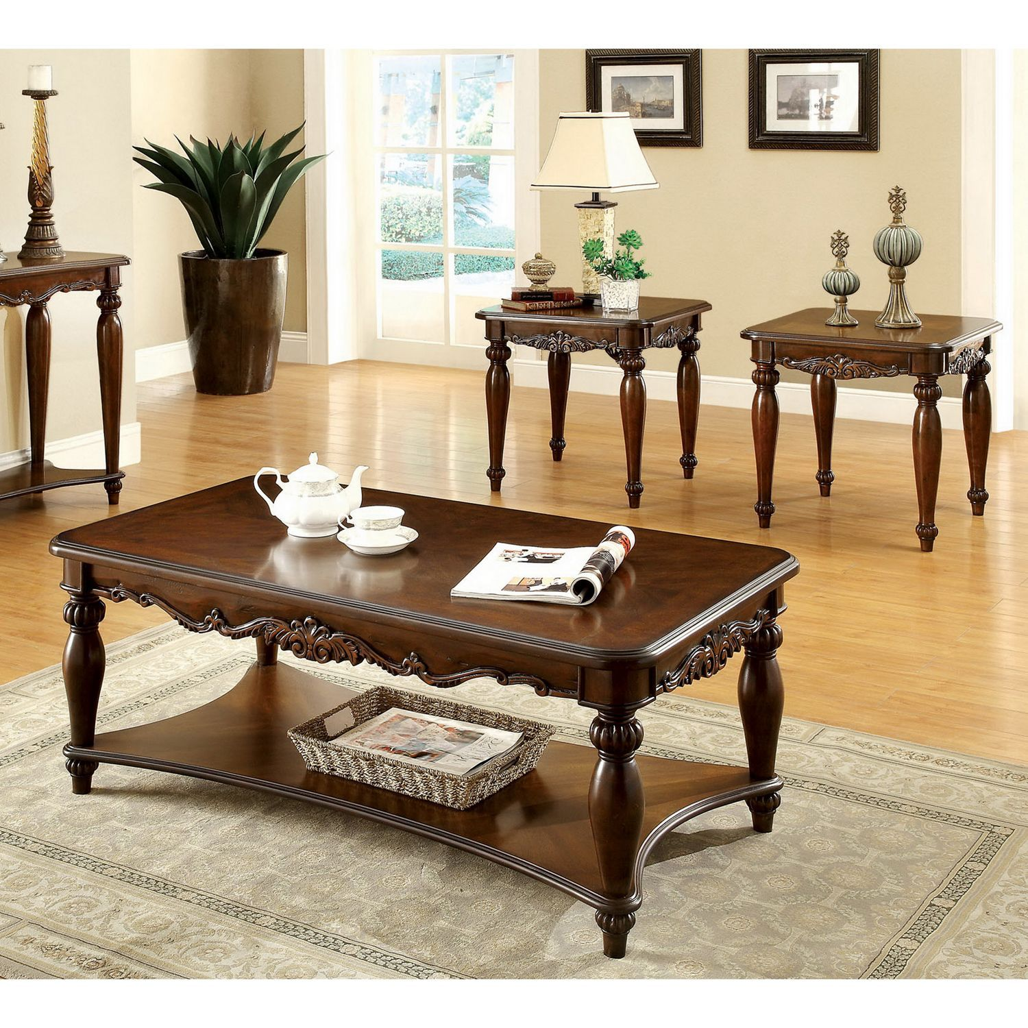 Furniture Of America 39 Macelli 39 3 Piece Cherry Finished Traditional Coffee End Table Set By