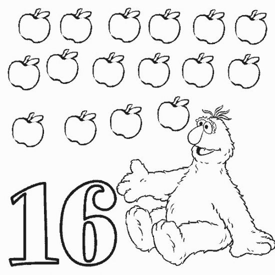 Numbers 16 Sixteen Coloring Pages Coloring Pages Coloring Pages