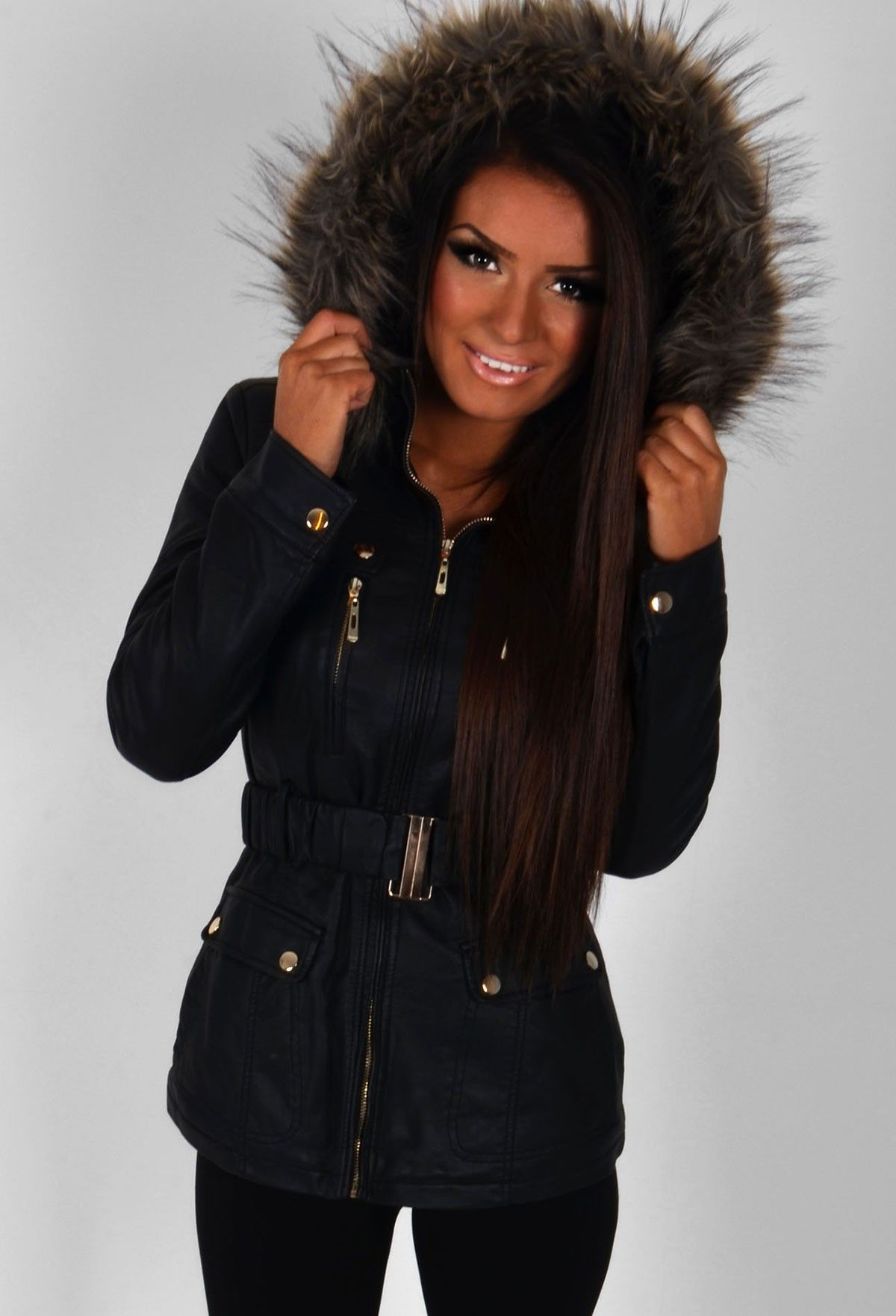 Lucita Leather Effect Faux Fur Trim Parka Jacket | Pink Boutique ...
