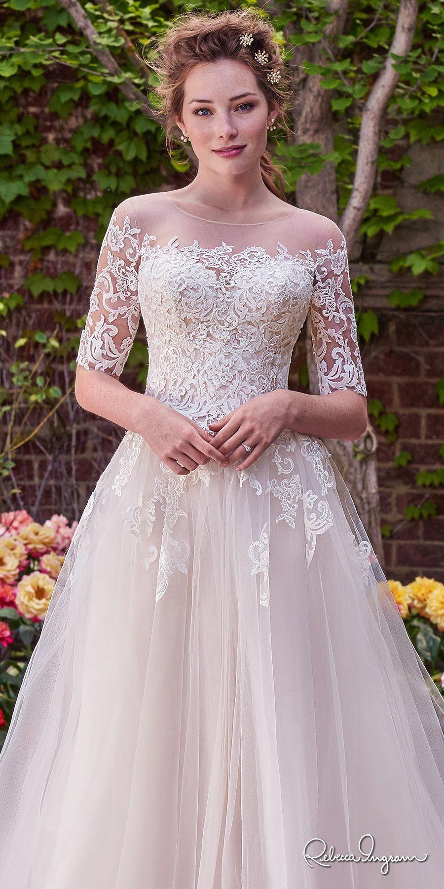 Rebecca Ingram 2017 Bridal Half Sleeves Illusion Jewel