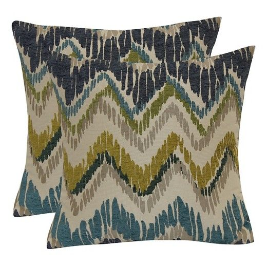 """• Made of polyester<br>• Measures 18""""x18""""<br>• Set of 2<br><br>Bookend your couch in comfort with the Jacquard Chevron Throw Pillow with Suede Back. This pair of accent pillows has a ragged chevron design in a mix of colors."""