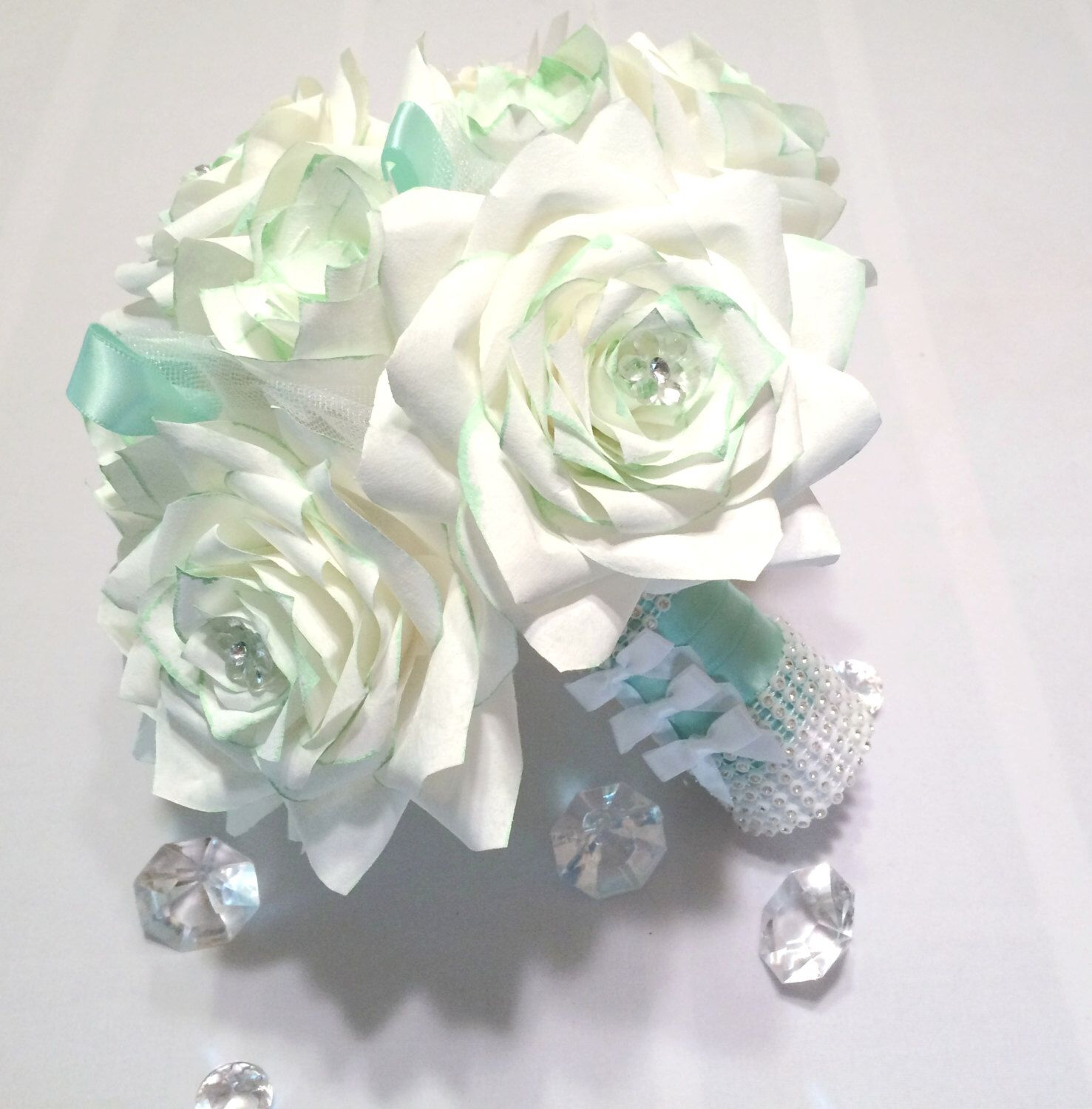 Mint green and white custom made bridal bouquet, Handmade paper ...