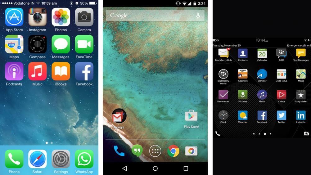 Android 50 lollipop vs apple ios 8 vs blackberry 103