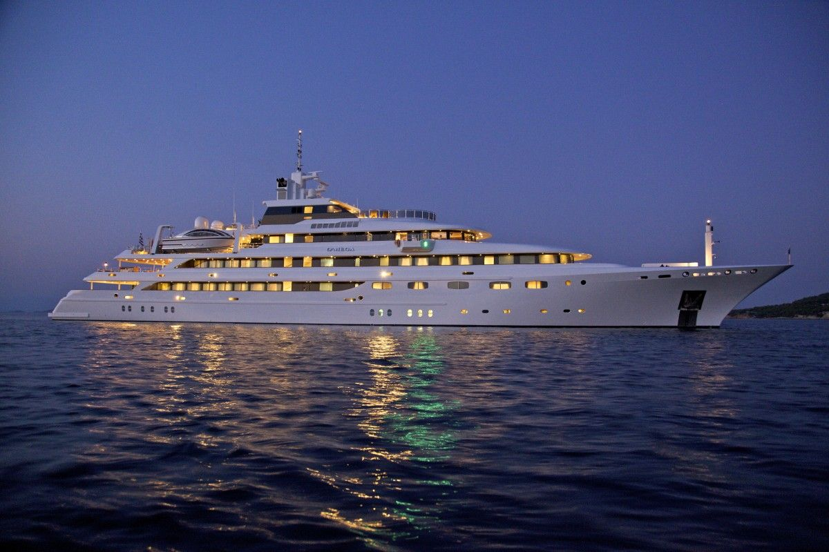 Superyacht O Mega At Night Land Air Sea Luxury Yachts Motor