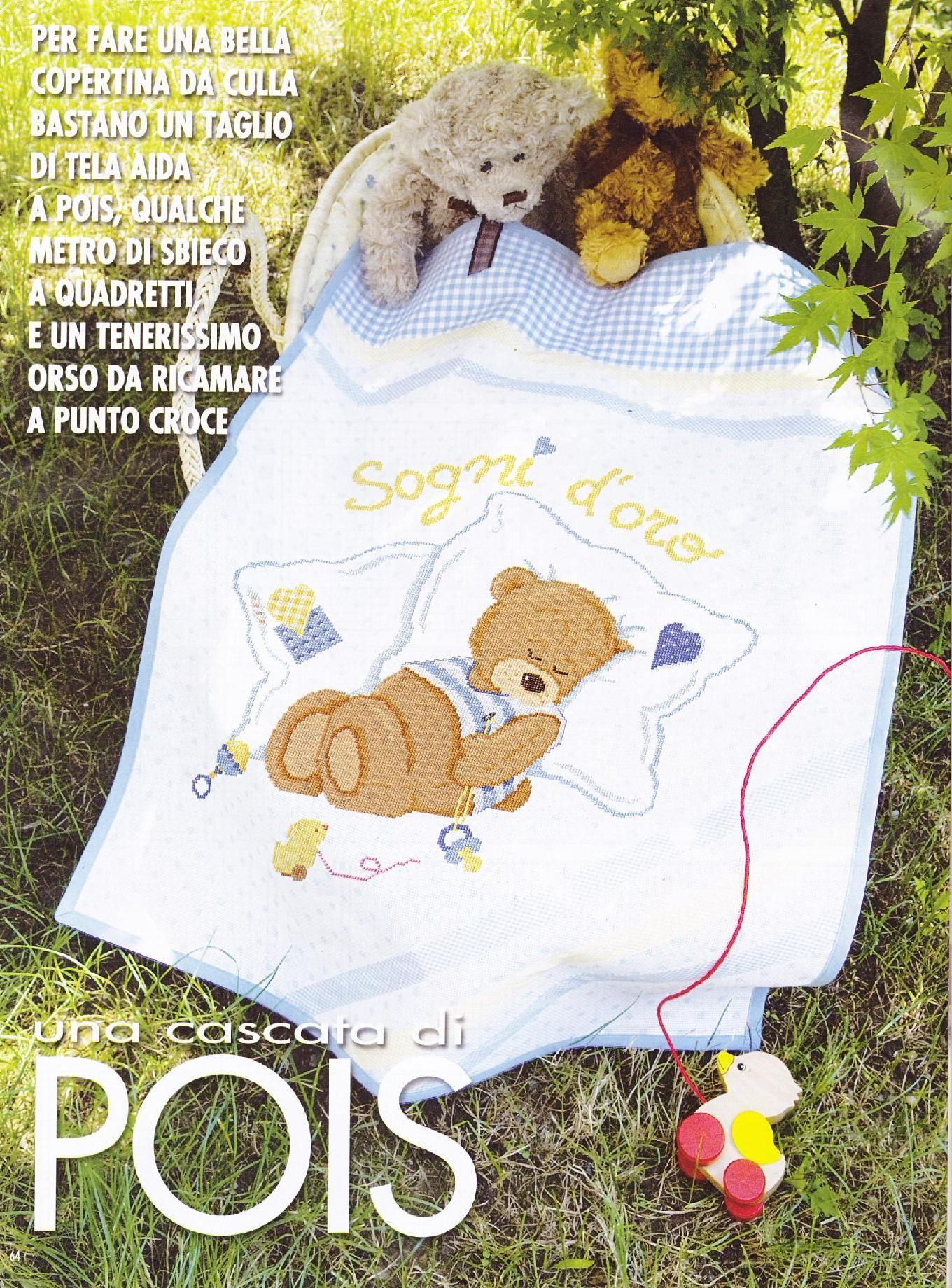 point de croix couverture bébé couverture bébé ous peluche sur l'oreiller (1)   Bébé   Pinterest point de croix couverture bébé