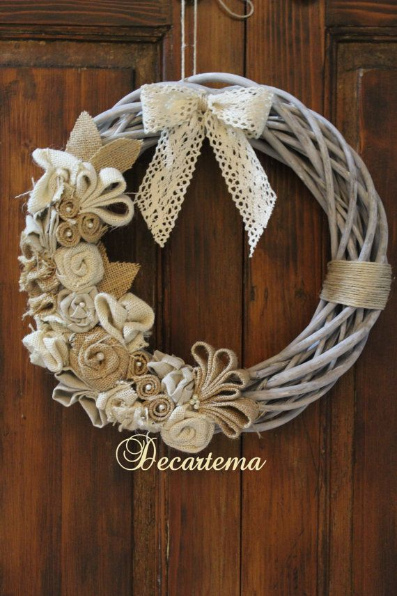 Ghirlande Di Natale Shabby Chic.Floor Door Natural Grey Shabby Chic Wicker Wreath By Decartema