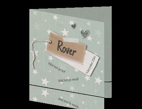 Leuk retro kaartje met sterren, hartjes en een stoer label.