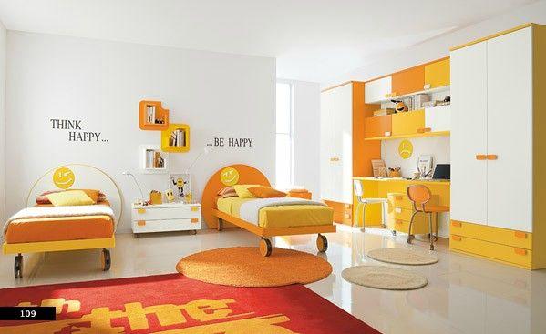 Girls Bedroom Ideas Yellow children's room design idea with bright colors of orange, white