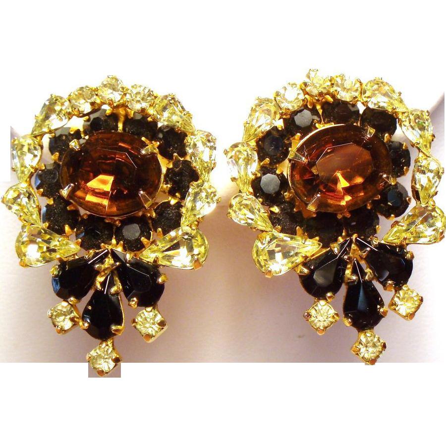 Vintage Kramer Canary Yellow & Topaz Rhinestone Earrings