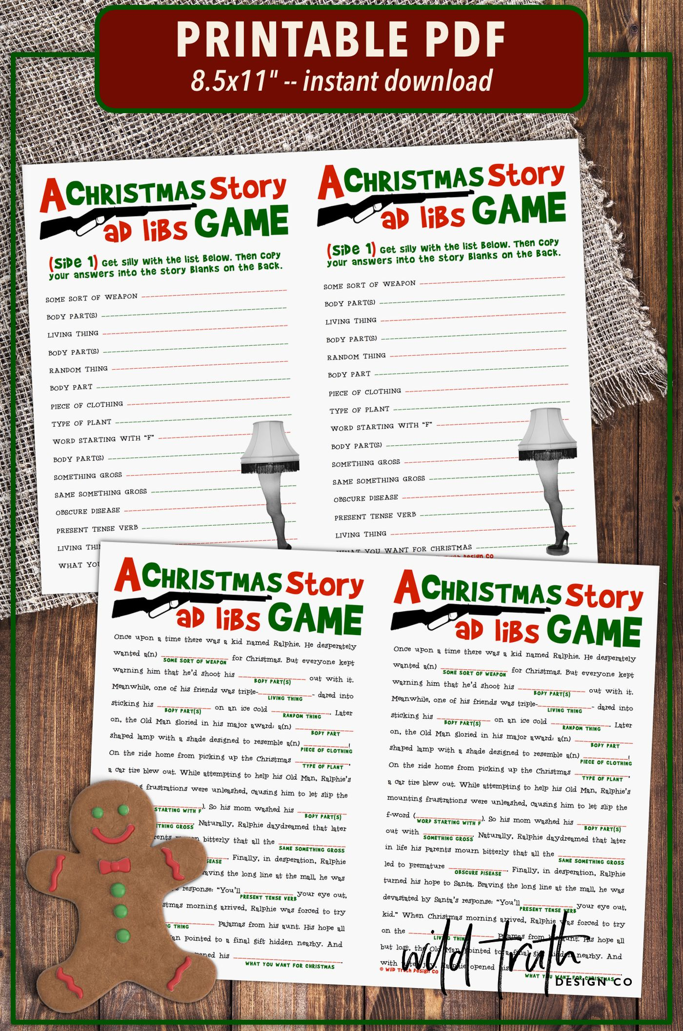 A Christmas Story Movie Party Game - Printable Mad Libs [#C101 ...