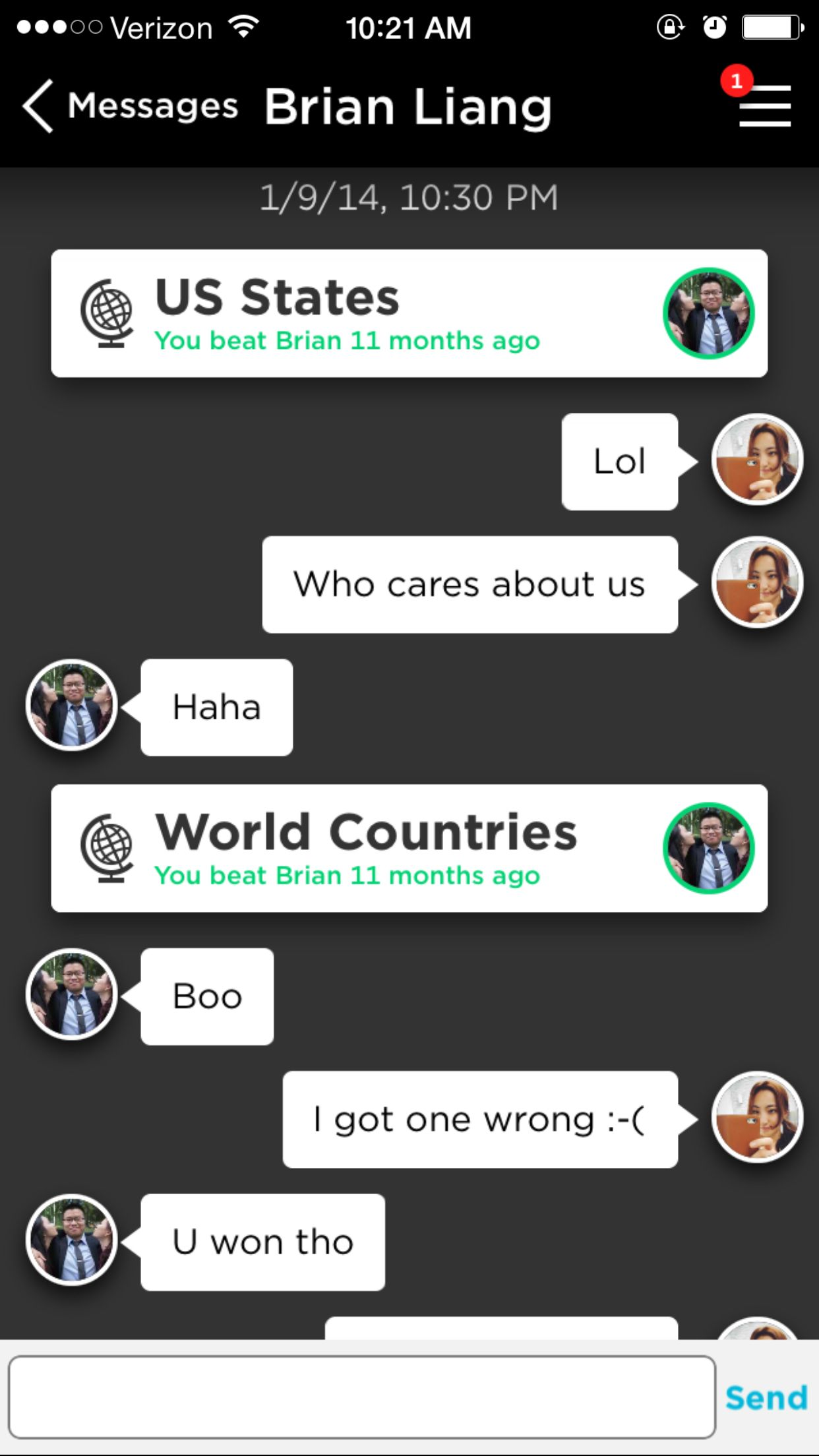 Quizup  Shows major game events between the opponent and me