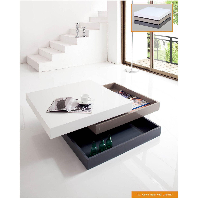 Esf Imports 1001 Coffee Table W Storage White Grey Black In