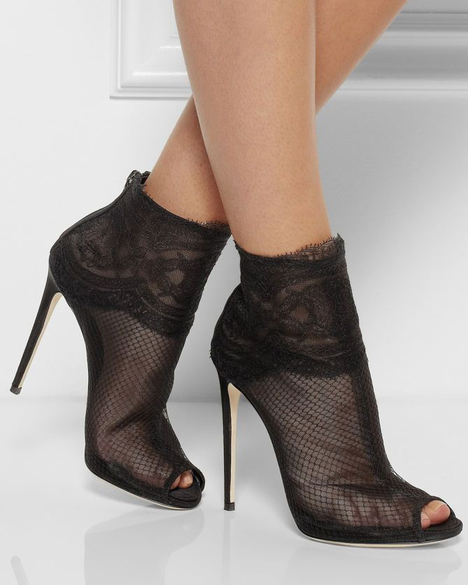 ad6d0b83638 DOLCE  amp  GABBANA Lace-trimmed Net Ankle Boots