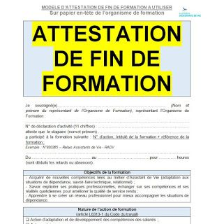 Modele Attestation De Fin Formation En Format Word Word Doc