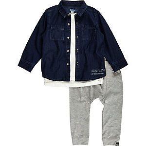 ee11a8229 Mini boys denim shirt t-shirt joggers outfit