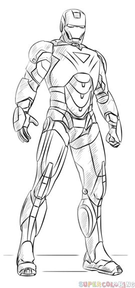 How to draw Iron Man step by step. Drawing tutorials for kids and ...