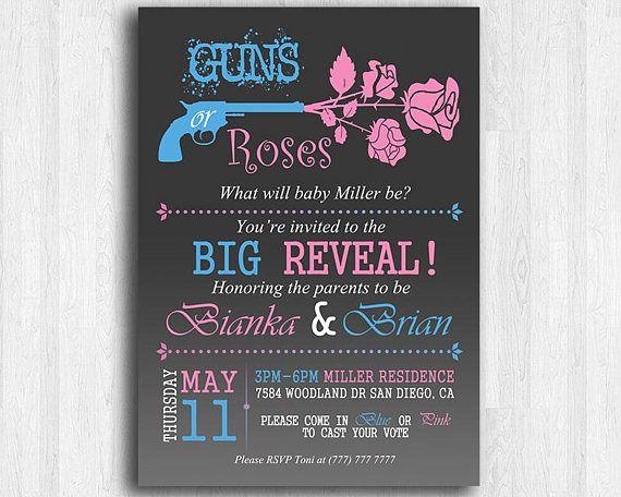 Guns Or Roses Gender Reveal Invitation Pink And Blue Gender