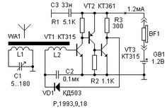 Circuit of reflex radio receiver for Middle Wave band