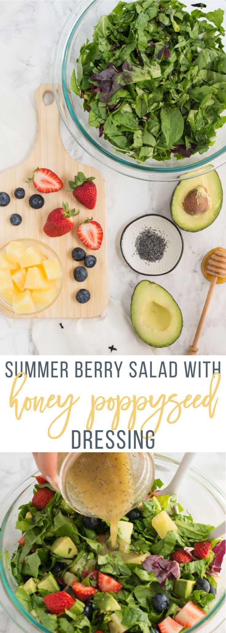 Summer Berry Salad with Honey Poppyseed Dressing -- This fresh and healthy salad is the perfect meal or side dish. Berries, pineapple, avocado all tossed with a perfectly sweet honey poppyseed dressing.      Summer Berry Salad with Honey Poppyseed Dressing -- This fresh and healthy salad is the perfect meal or side dish. Berries, pineapple, avocado all tossed with a perfectly sweet honey poppyseed dressing. | mindfulavocado