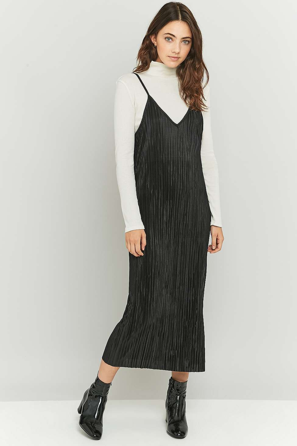 Urban Renewal Vintage Remnants Black Pleated Midi Slip Dress Slip Dress Black Pleated Dress Black Dress Outfit Casual [ 1463 x 975 Pixel ]