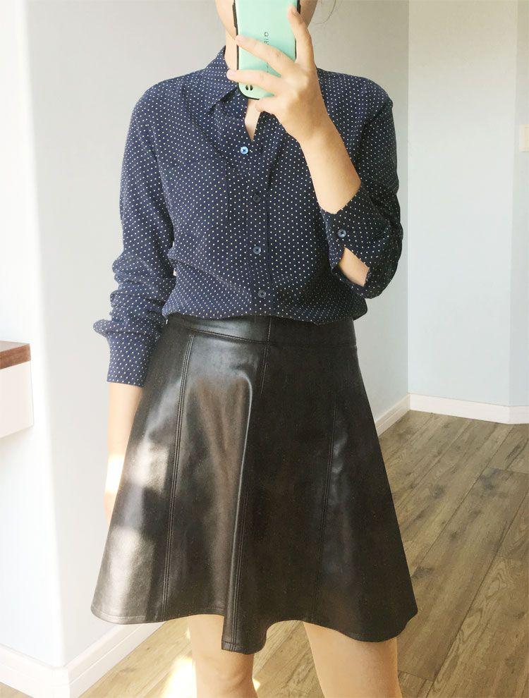 EQ Ladies 100% silk dark blue polka dot print women long sleeve  blouses women shirt spring autumn