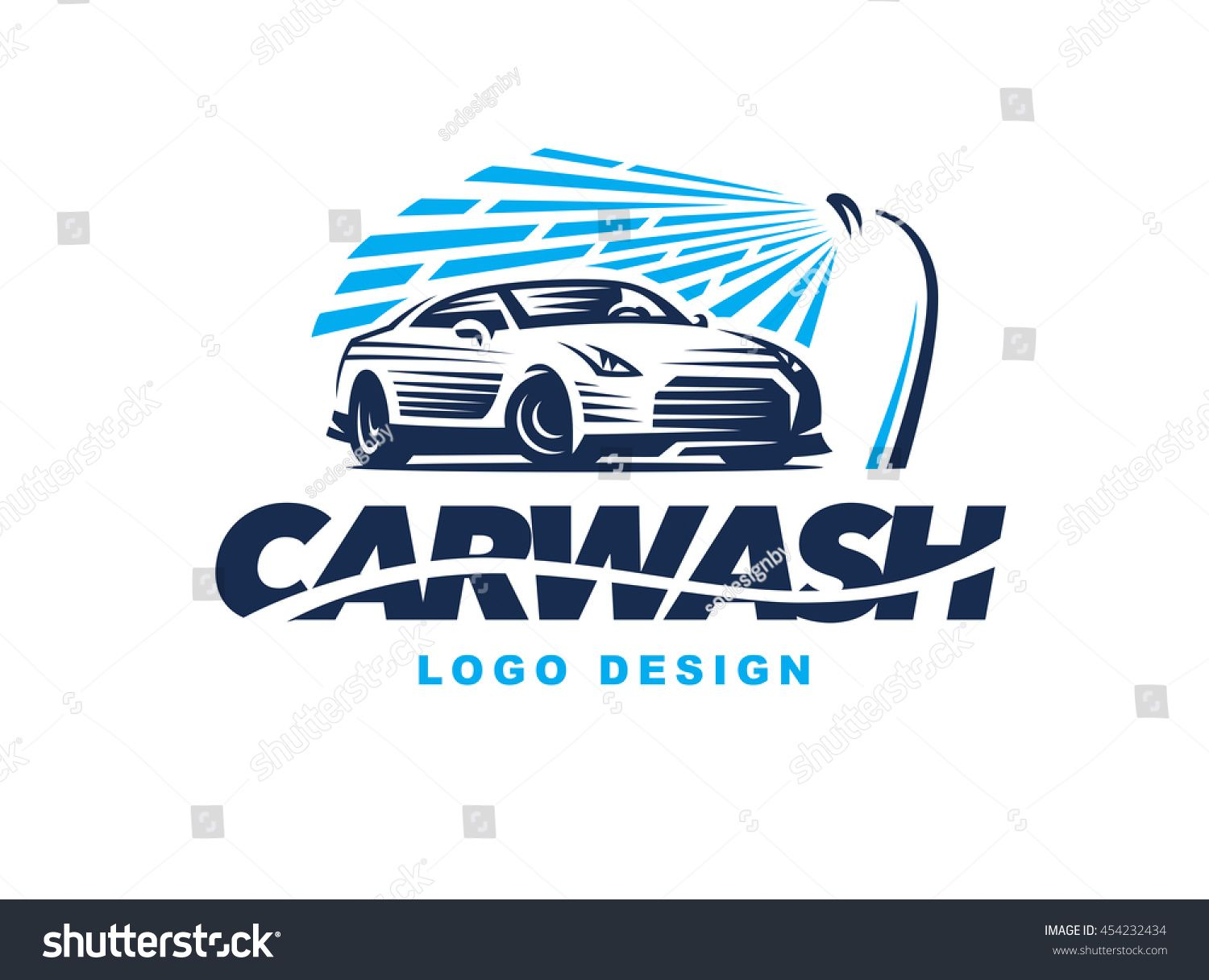 Logo car wash on light background. Car logo design, Wash