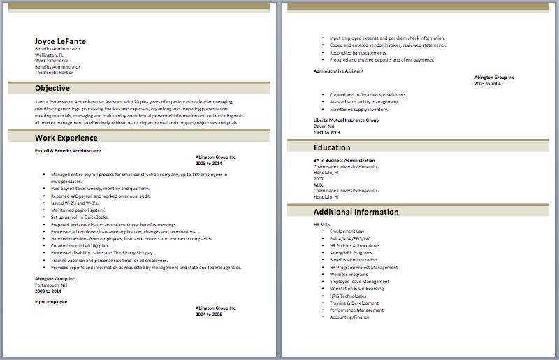 benefits administrator resume