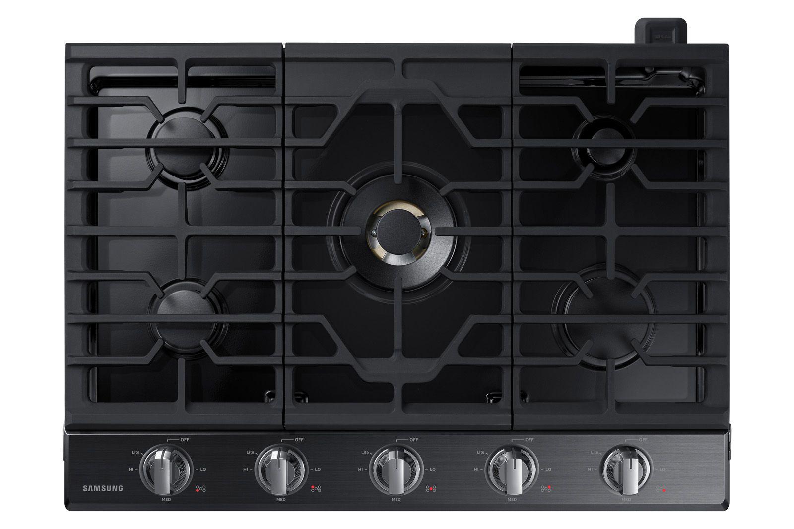 Samsung 30 Gas Cooktop With 22k Btu Dual Power Burner In Black Stainless Steel Kitchen Island Decor Black Stainless Steel Modern Kitchen Island