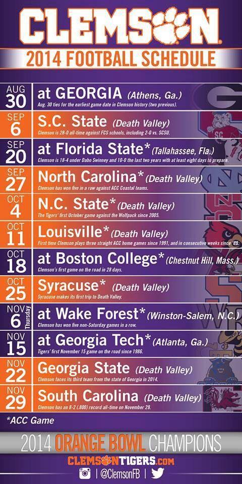 Clemson 2014 Football Schedule | Clemson football, Clemson ...