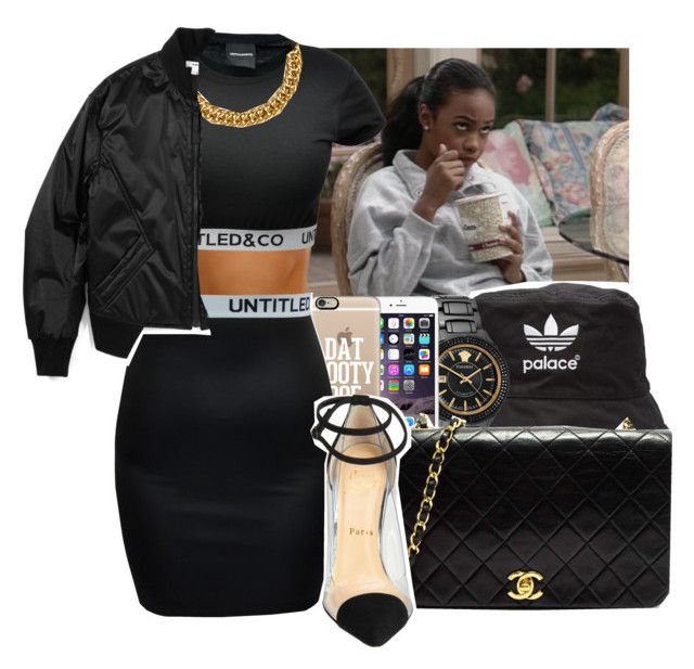 """""""+The Queen Get The Money+"""" by dope-unicorn55 ❤ liked on Polyvore featuring adidas, Versace, Casetify, H&M, Chanel, Helmut Lang and Christian Louboutin"""